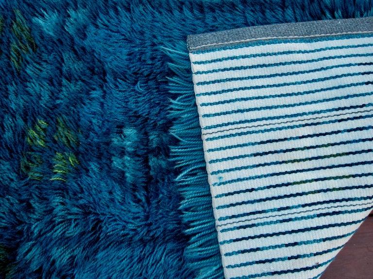 Mid-20th Century Midcentury Scandinavian Blue Rya Rug