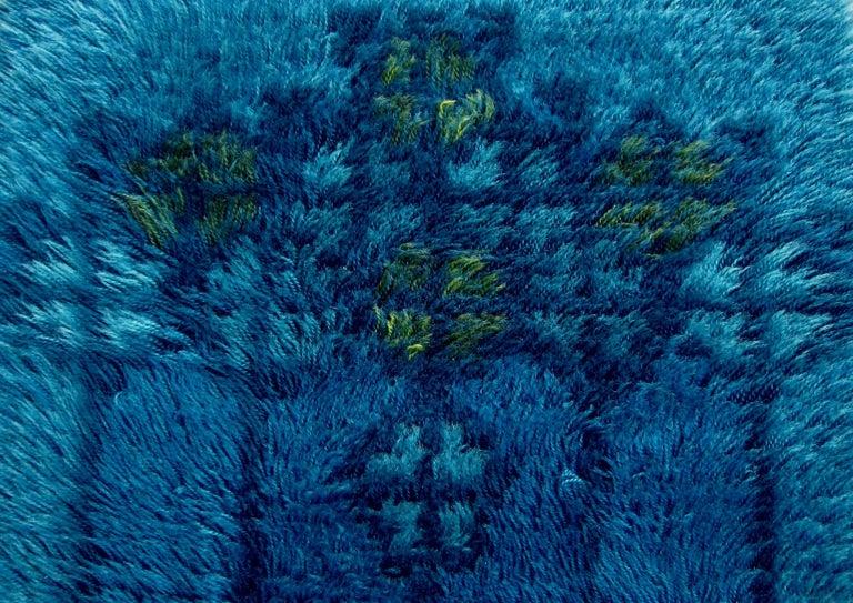 Midcentury Scandinavian Blue Rya Rug 1