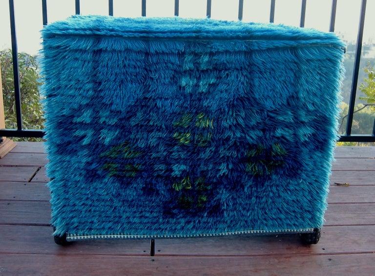 Midcentury Scandinavian Blue Rya Rug 2