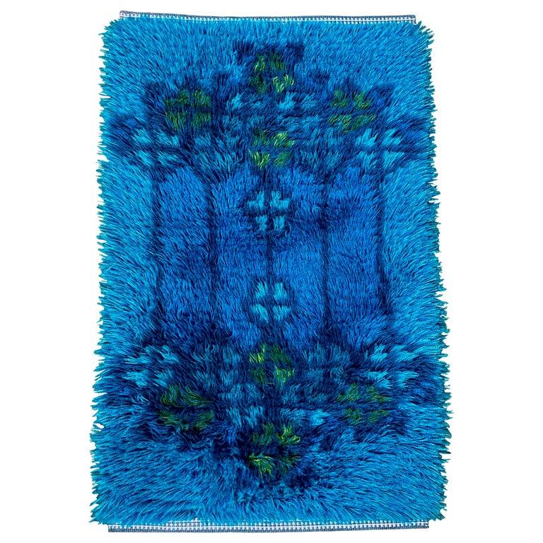 Midcentury Scandinavian Blue Rya Rug
