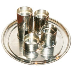 Midcentury Scandinavian Candleholders, Set of 4 Cylinder with Plate
