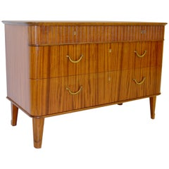 Midcentury Scandinavian Chest of Drawers with Ribbed Decor