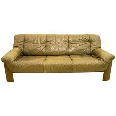 Midcentury Scandinavian Cognac Brown Leather and Oak Tree 3-Seat Sofa, 1970