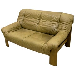 Midcentury Scandinavian Cognac Brown Leather and Oak tree Two-Seat Sofa, 1970
