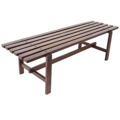 Midcentury Scandinavian Dark Brown Teak Wood Bench, 1960s