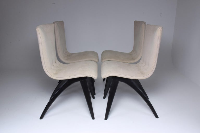 Dutch Midcentury Scandinavian Dining Chairs by CJ Van Os Culemborg, Set of Four, 1950s For Sale