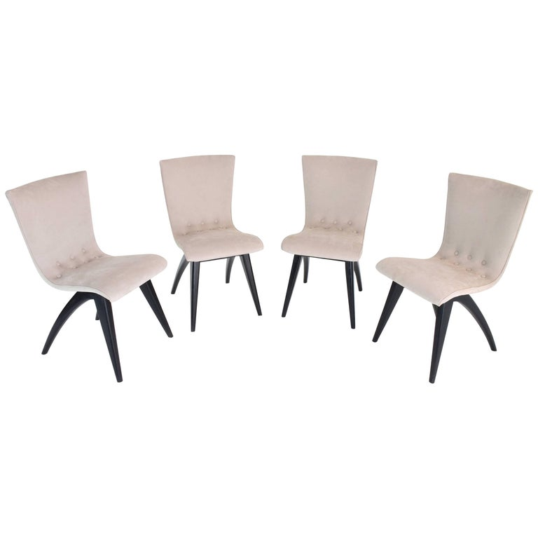 Upholstery Midcentury Scandinavian Dining Chairs by CJ Van Os Culemborg, Set of Four, 1950s For Sale