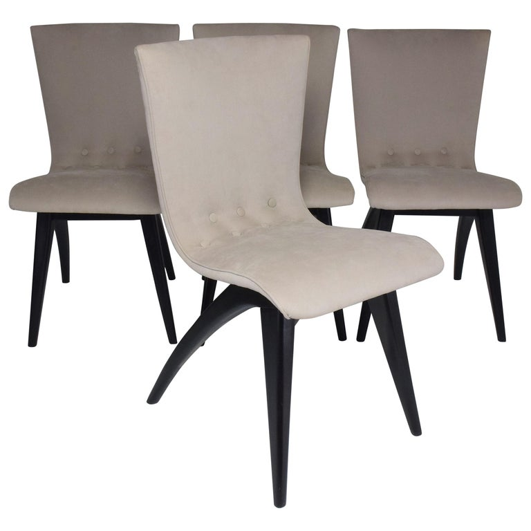 Midcentury Scandinavian Dining Chairs by CJ Van Os Culemborg, Set of Four, 1950s For Sale