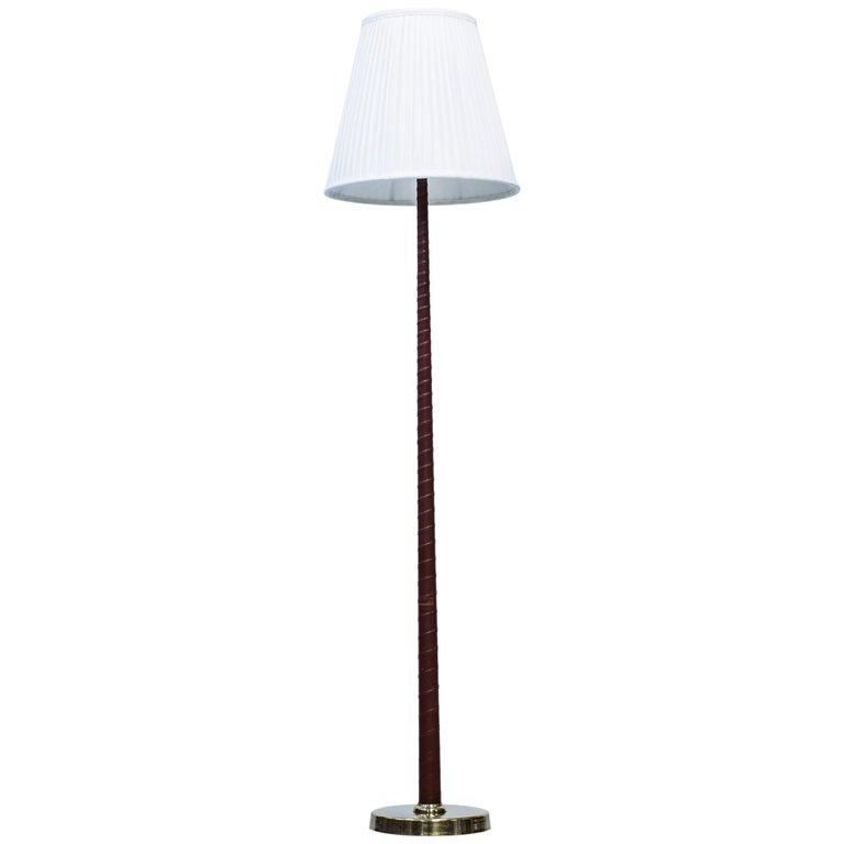 Midcentury Scandinavian Floor Lamp by Hans Bergström, Ateljé Lyktan, 1940s For Sale