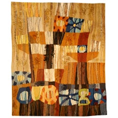 Midcentury Scandinavian Folk Inspired Colorful Hand Knotted Wool Rug