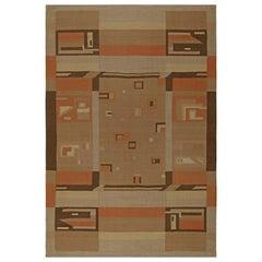 Midcentury Scandinavian Geometric Handmade Wool Rug in Camel, Peach, Sand, Cream