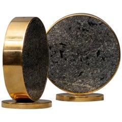 Midcentury Scandinavian Granit Brass Modern Saulo Norway Salt Pepper, 1960s