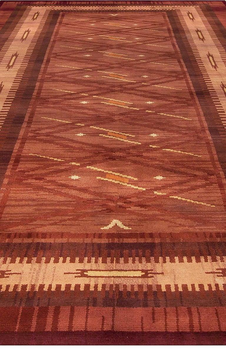 Mid-Century Modern Midcentury Scandinavian Handmade Wool Rug in Burgundy, Brown and Beige For Sale