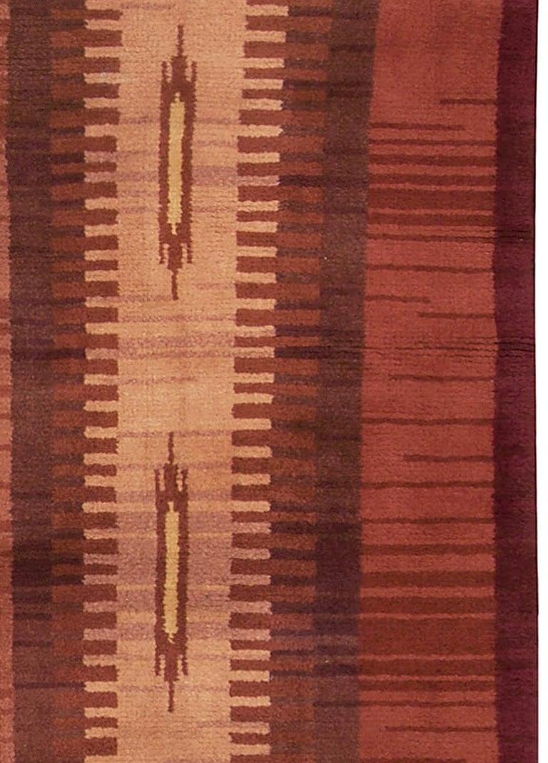Hand-Knotted Midcentury Scandinavian Handmade Wool Rug in Burgundy, Brown and Beige For Sale