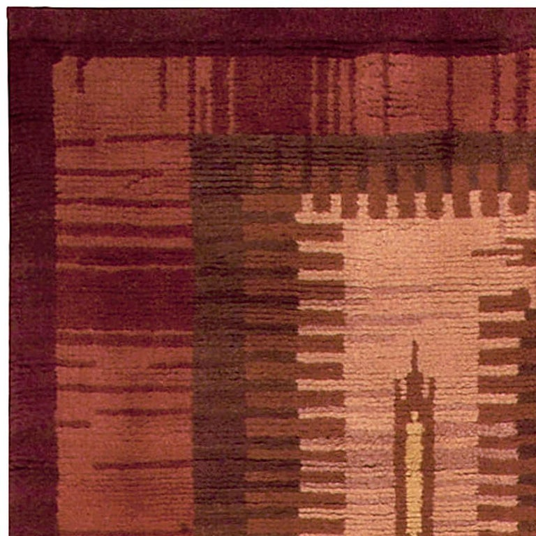 Midcentury Scandinavian Handmade Wool Rug in Burgundy, Brown and Beige In Good Condition For Sale In New York, NY