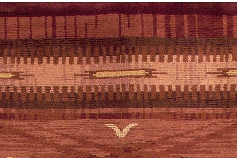 20th Century Midcentury Scandinavian Handmade Wool Rug in Burgundy, Brown and Beige For Sale
