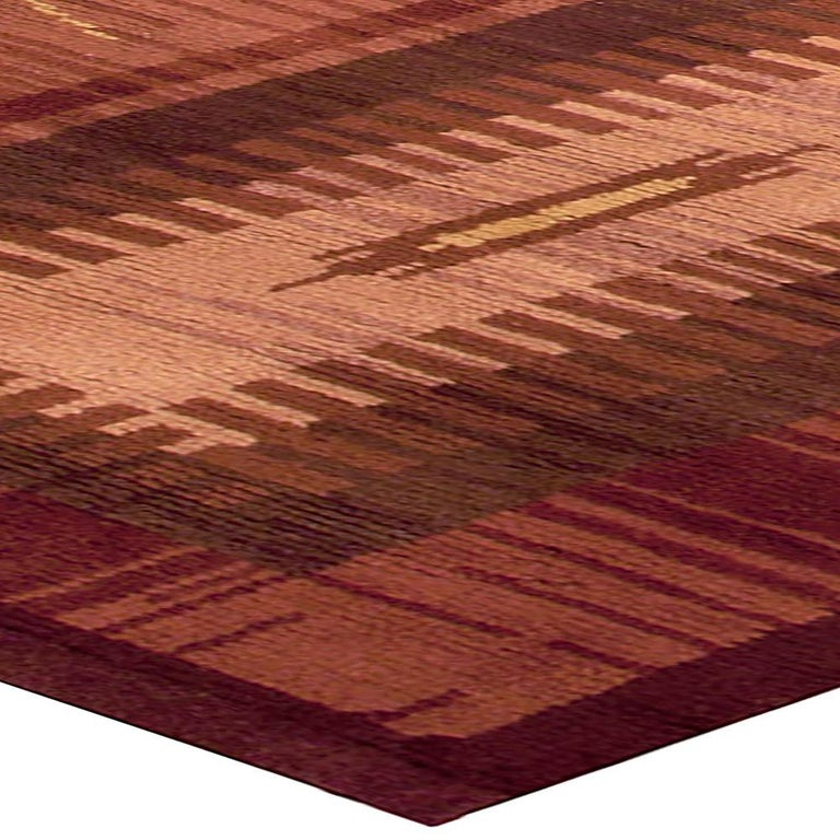 Midcentury Scandinavian Handmade Wool Rug in Burgundy, Brown and Beige For Sale 1