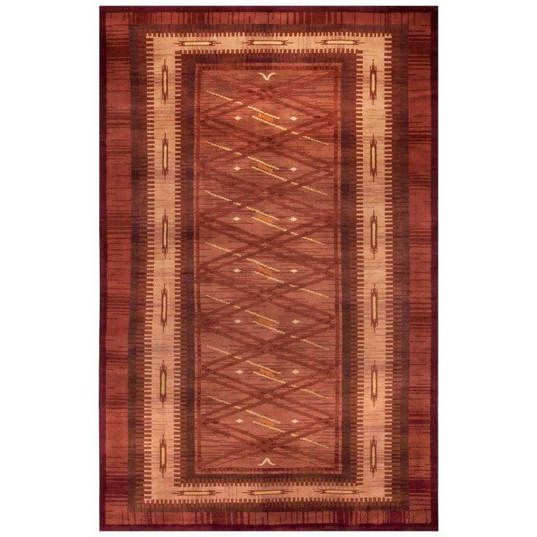 Midcentury Scandinavian Handmade Wool Rug in Burgundy, Brown and Beige For Sale