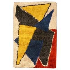 Midcentury Scandinavian Handmade Wool Rug in Yellow, Blue, Red and Black
