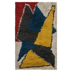 Midcentury Scandinavian Handmade Wool Rug in Yellow, Blue, Red and Black