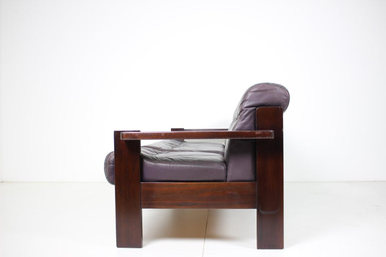 Lacquered Midcentury Scandinavian Leather Sofa, 1960s For Sale