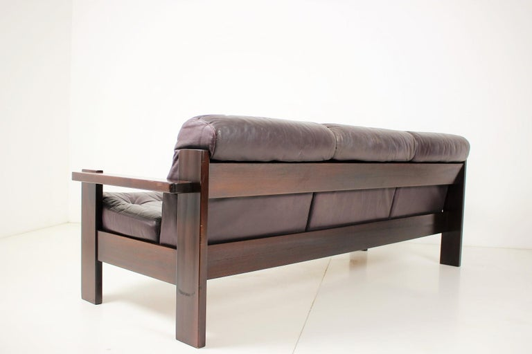Midcentury Scandinavian Leather Sofa, 1960s In Good Condition For Sale In Praha, CZ