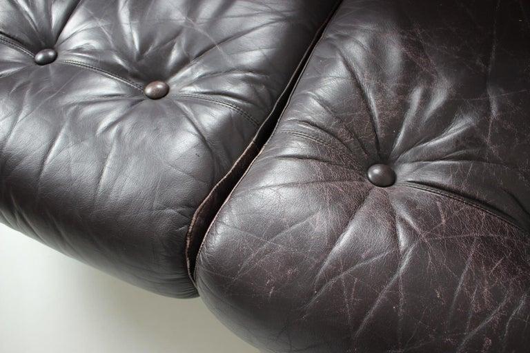Midcentury Scandinavian Leather Sofa, 1960s For Sale 1