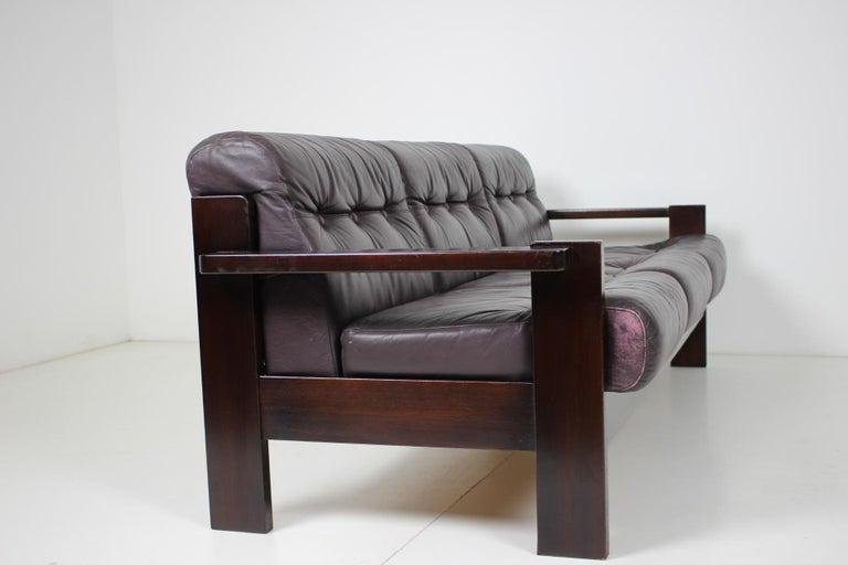 Midcentury Scandinavian Leather Sofa, 1960s For Sale 2