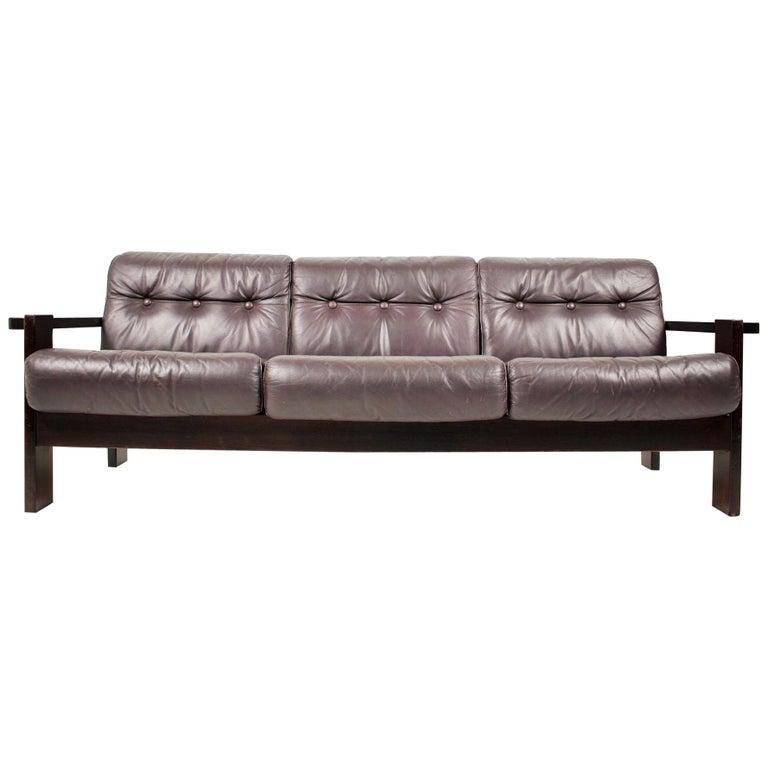 Midcentury Scandinavian Leather Sofa, 1960s For Sale