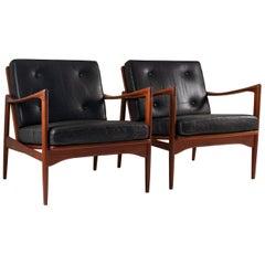 """Midcentury Scandinavian Lounge Chairs """"Kanidaten"""" by Ib Kofod Larsen"""