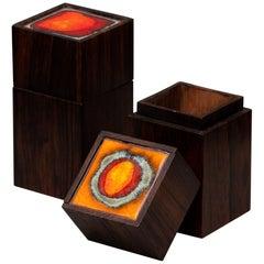 Midcentury Scandinavian Modern Klitgaard Rosewood Cigar Boxes 1960s Enameled