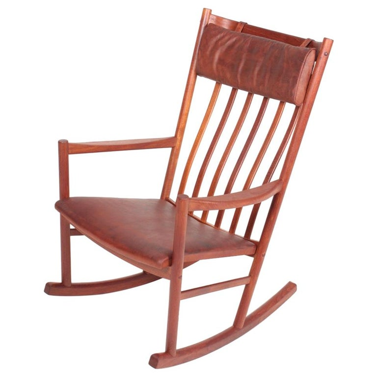 Midcentury Scandinavian Modern Rocking Chair in Teak & Patinated Leather, 1960s For Sale