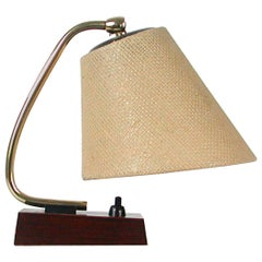 Midcentury Scandinavian Modern Rosewood Brass and Raffia Table Lamp
