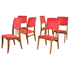 Midcentury Scandinavian Modern Set of 6 Teak Dining Chairs with Red Ultrasuede
