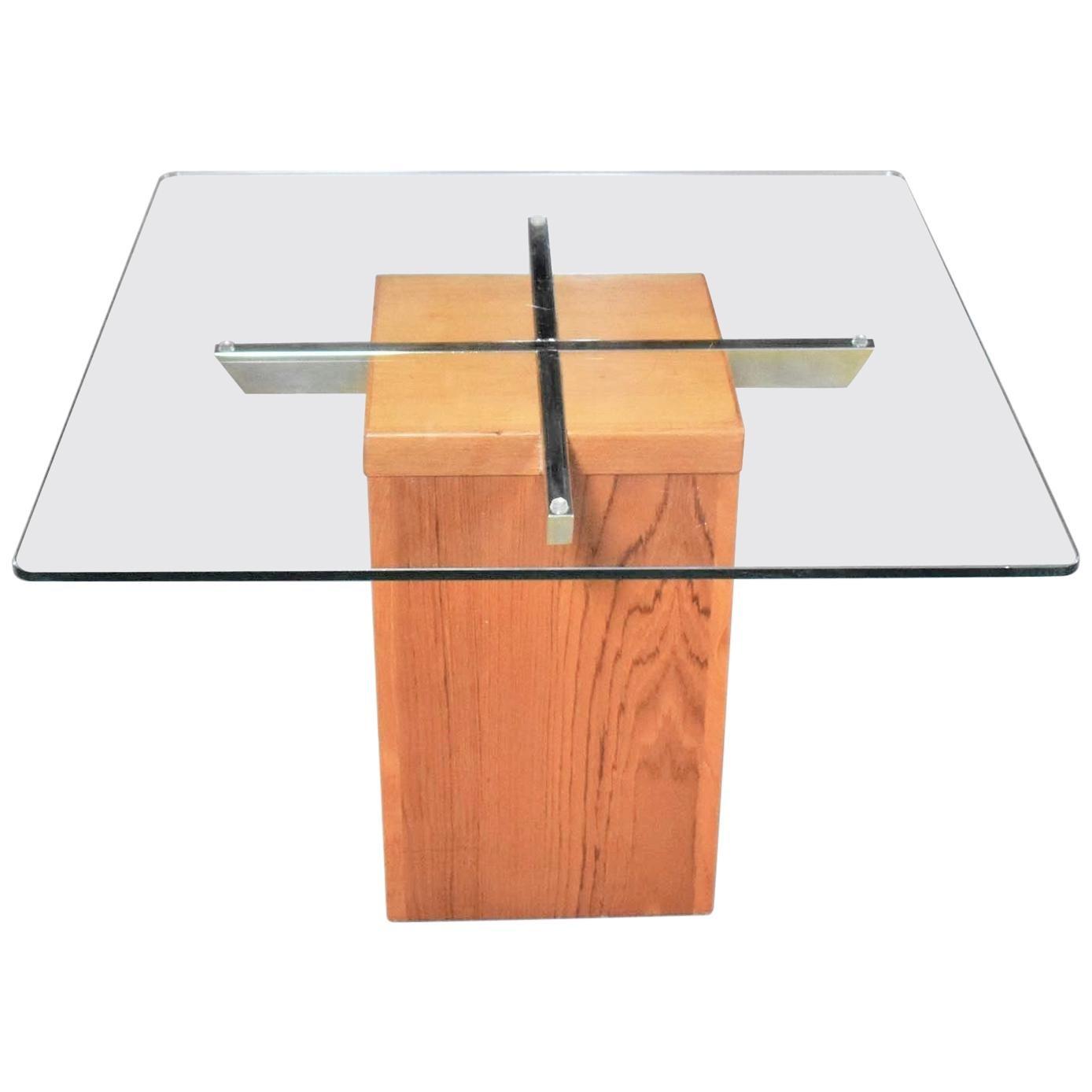 Midcentury Scandinavian Modern Square Teak Chrome and Glass Side Table
