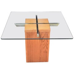 Midcentury Scandinavian Modern Square Teak Chrome and Glass Side Table