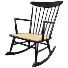 Midcentury Scandinavian Modern Style Spindle Back Rocking Chair Black with Cane