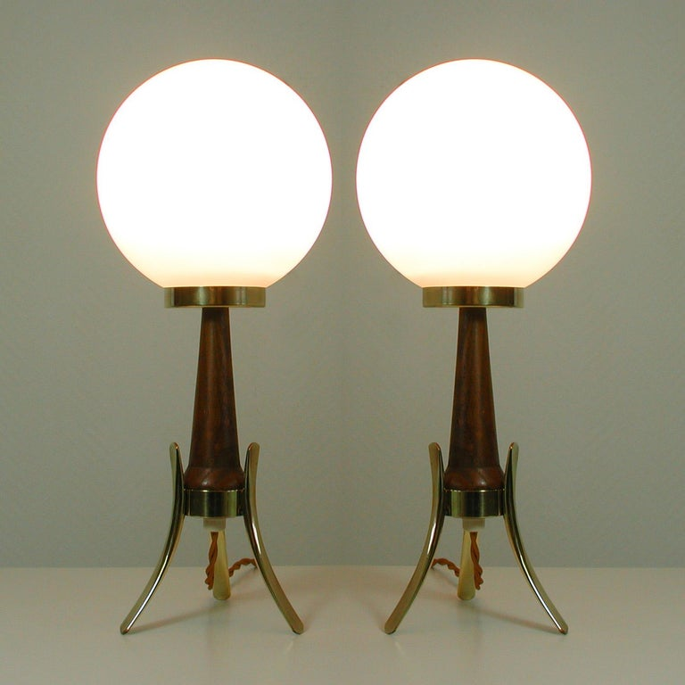 Midcentury Scandinavian Modern Teak, Brass and Opaline Table Lamps, Set of 2 For Sale 6