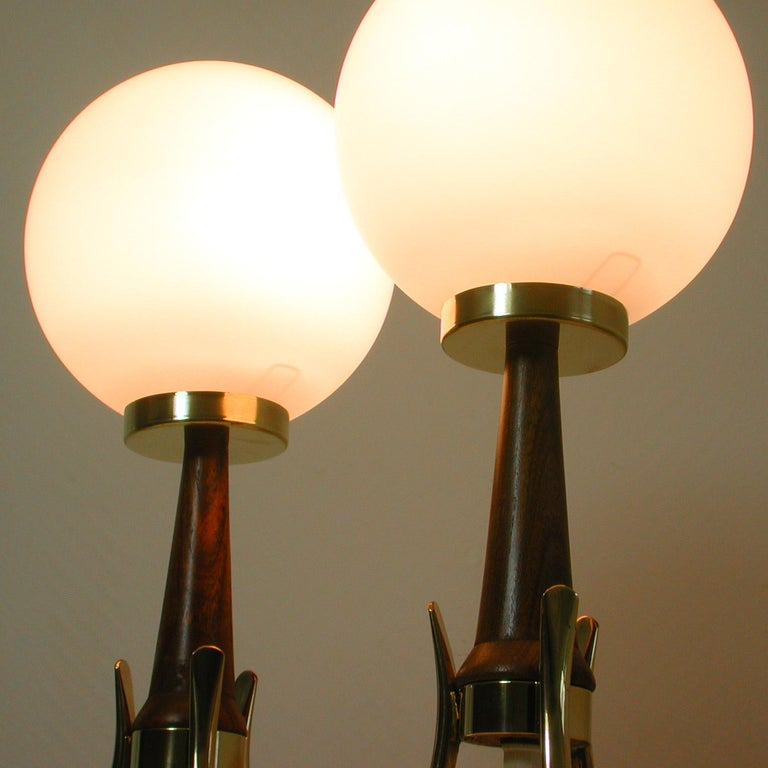 Midcentury Scandinavian Modern Teak, Brass and Opaline Table Lamps, Set of 2 For Sale 7