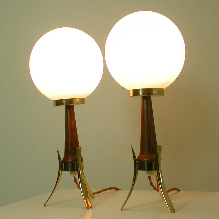 Midcentury Scandinavian Modern Teak, Brass and Opaline Table Lamps, Set of 2 For Sale 8
