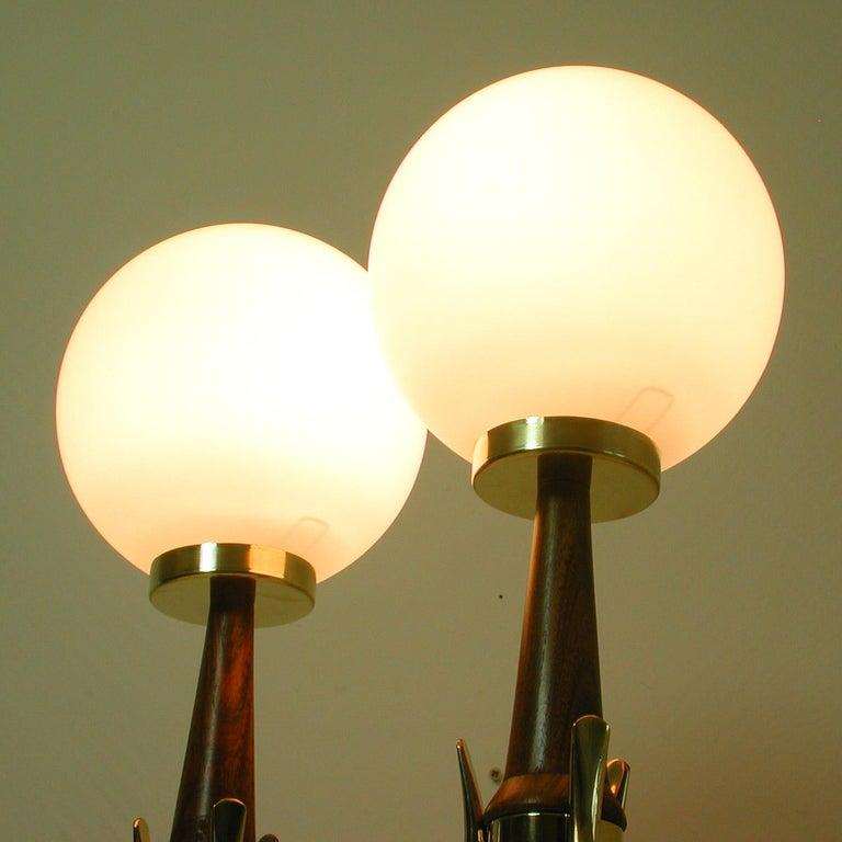 Midcentury Scandinavian Modern Teak, Brass and Opaline Table Lamps, Set of 2 For Sale 9