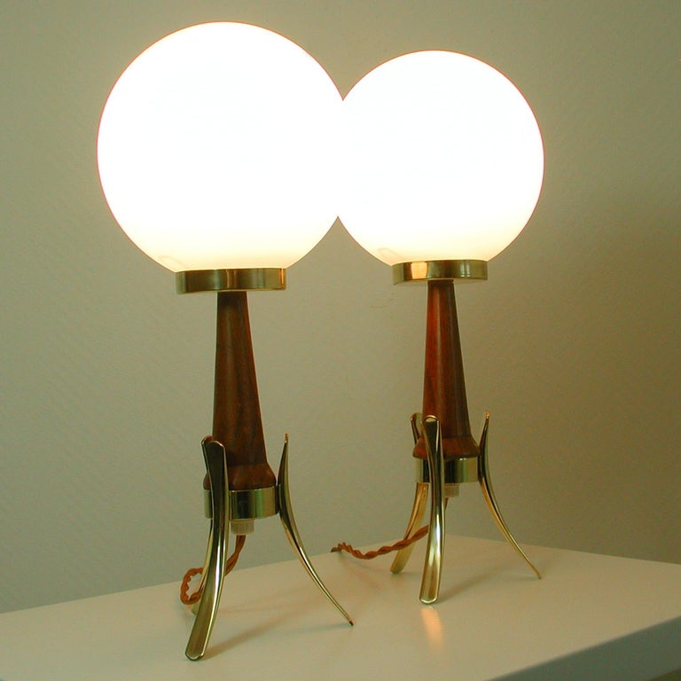 Midcentury Scandinavian Modern Teak, Brass and Opaline Table Lamps, Set of 2 For Sale 10
