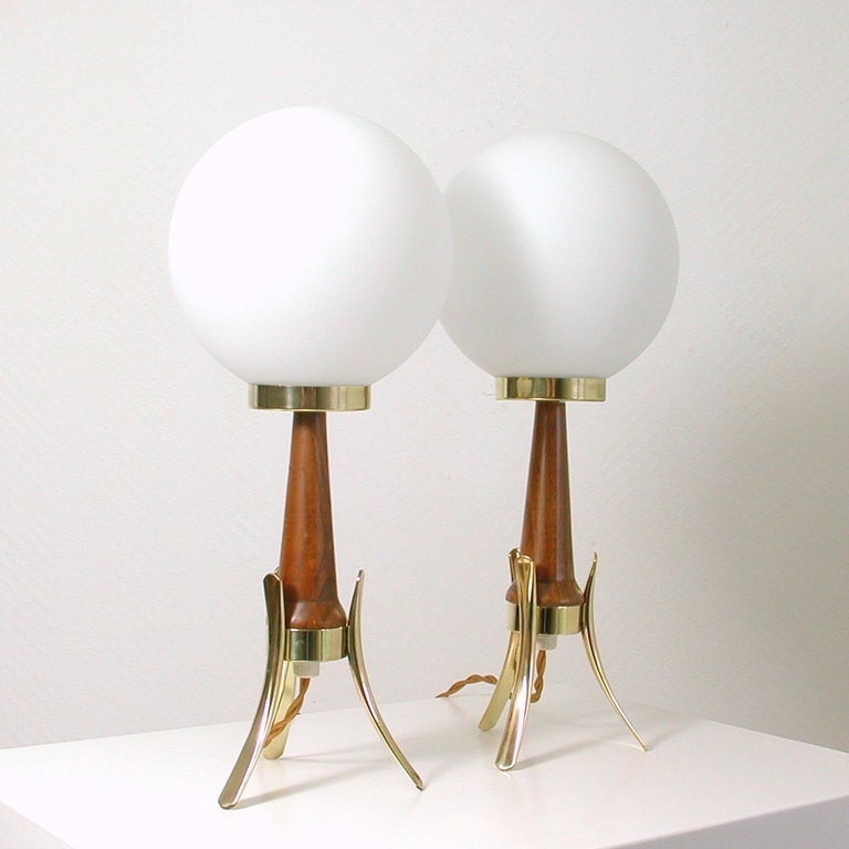 Mid-Century Modern Midcentury Scandinavian Modern Teak, Brass and Opaline Table Lamps, Set of 2 For Sale