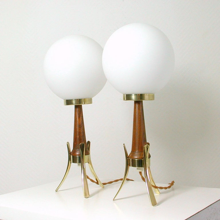 Danish Midcentury Scandinavian Modern Teak, Brass and Opaline Table Lamps, Set of 2 For Sale