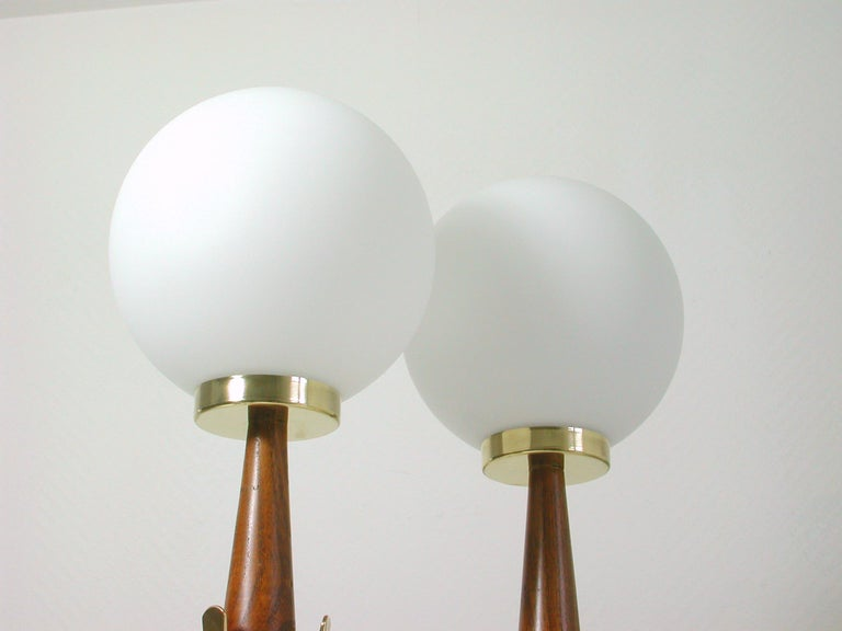 Midcentury Scandinavian Modern Teak, Brass and Opaline Table Lamps, Set of 2 For Sale 1