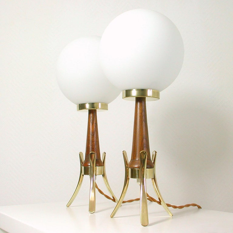 Midcentury Scandinavian Modern Teak, Brass and Opaline Table Lamps, Set of 2 For Sale 2