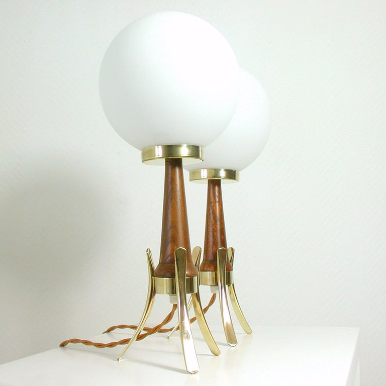 Midcentury Scandinavian Modern Teak, Brass and Opaline Table Lamps, Set of 2 For Sale 3