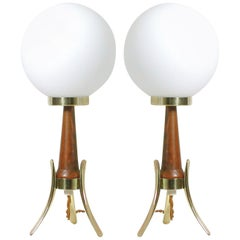 Midcentury Scandinavian Modern Teak, Brass and Opaline Table Lamps, Set of 2