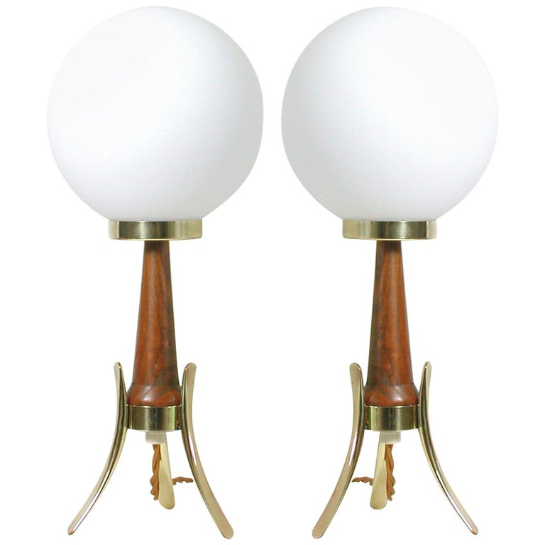 Midcentury Scandinavian Modern Teak, Brass and Opaline Table Lamps, Set of 2 For Sale