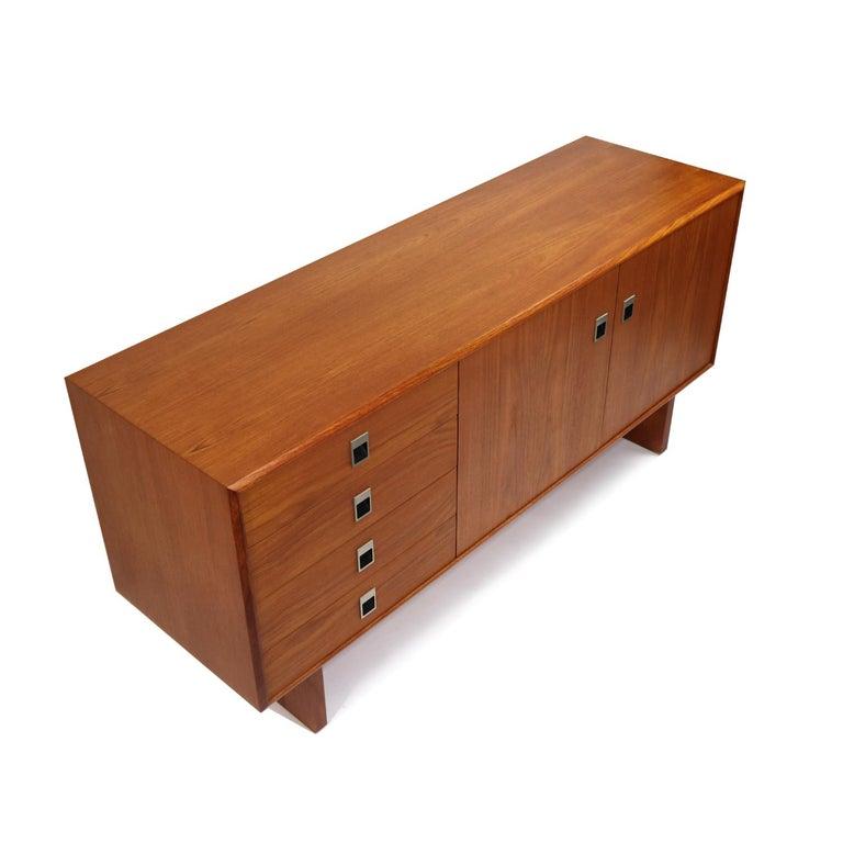 Mid-Century Modern Midcentury Scandinavian Modern Teak Credenza Petite Low Profile Media Cabinet For Sale